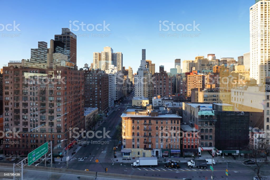 New york residential building by east river from roosevelt island stock photo