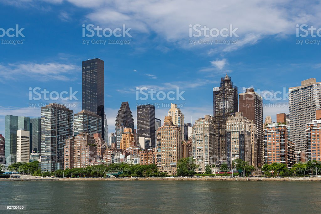 New york residential building by east river stock photo