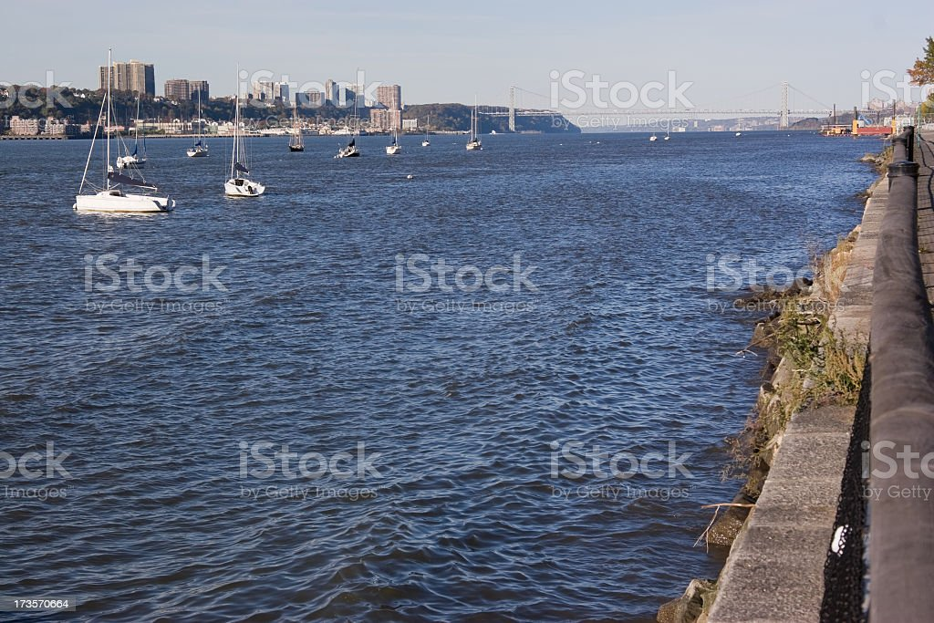 New York, Riverside: Yachts on the Hudson River stock photo