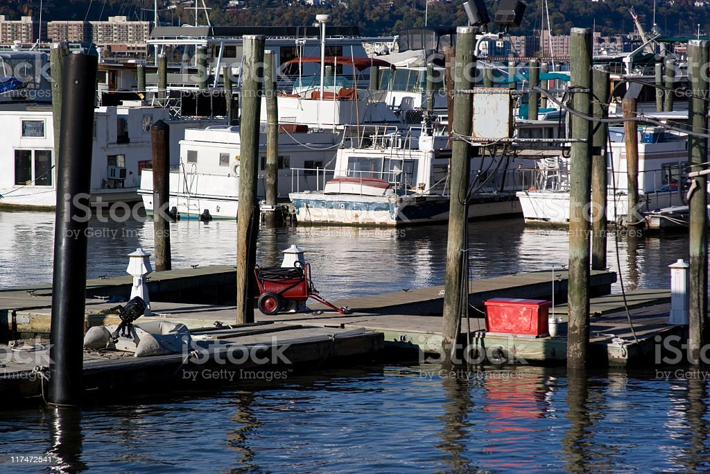 New York, Riverside: Yachts on the moorage royalty-free stock photo