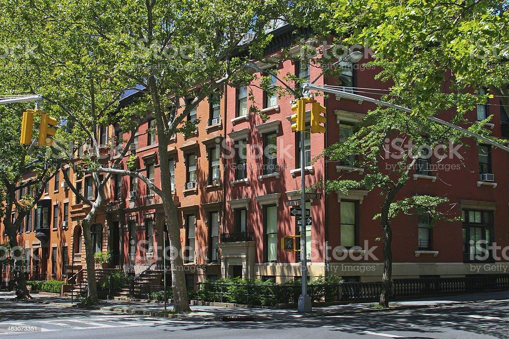 New York Rowhouses, Brooklyn Heights. stock photo