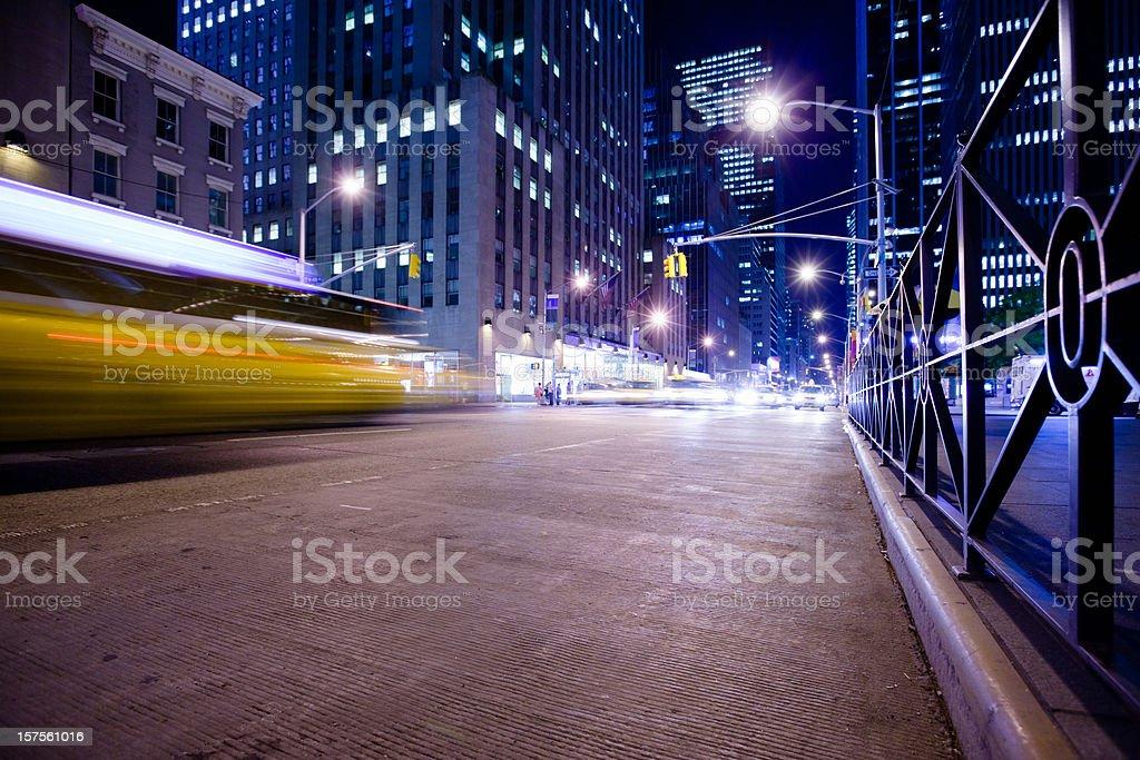 New York Sixth Avenue Night Rush royalty-free stock photo