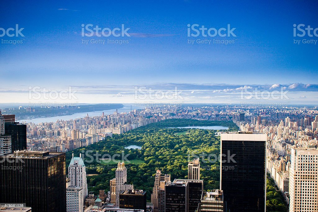 New York Skyline Aerial at Day stock photo