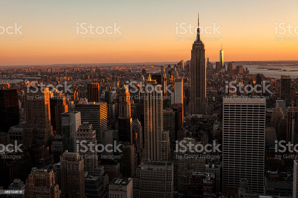 New York Skyline After Sunset, Aerial View stock photo