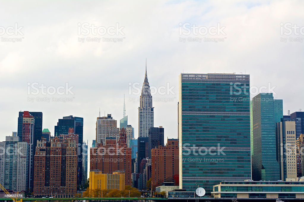 New York Skyline and UN Headquarters stock photo