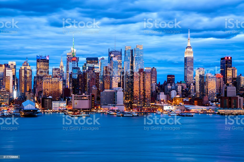 New York Skyline at Dusk stock photo