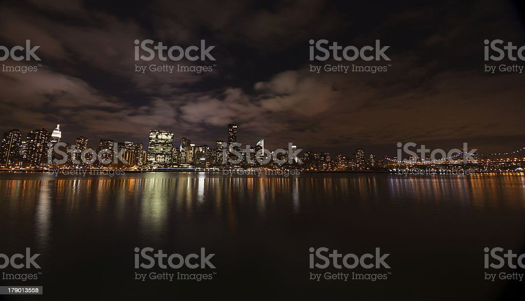 New York skyline at night from Brooklyn royalty-free stock photo