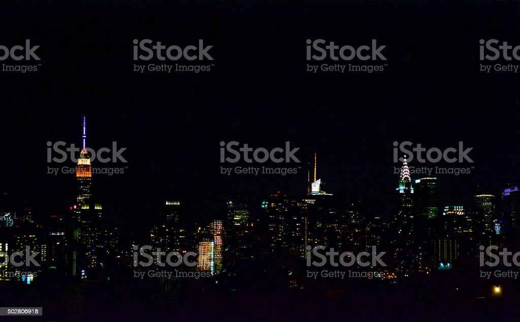 New York Skyline at Night stock photo