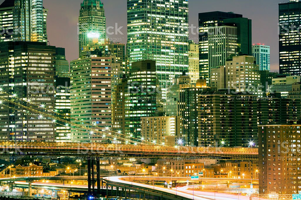 New York Skyline At Night stock photo