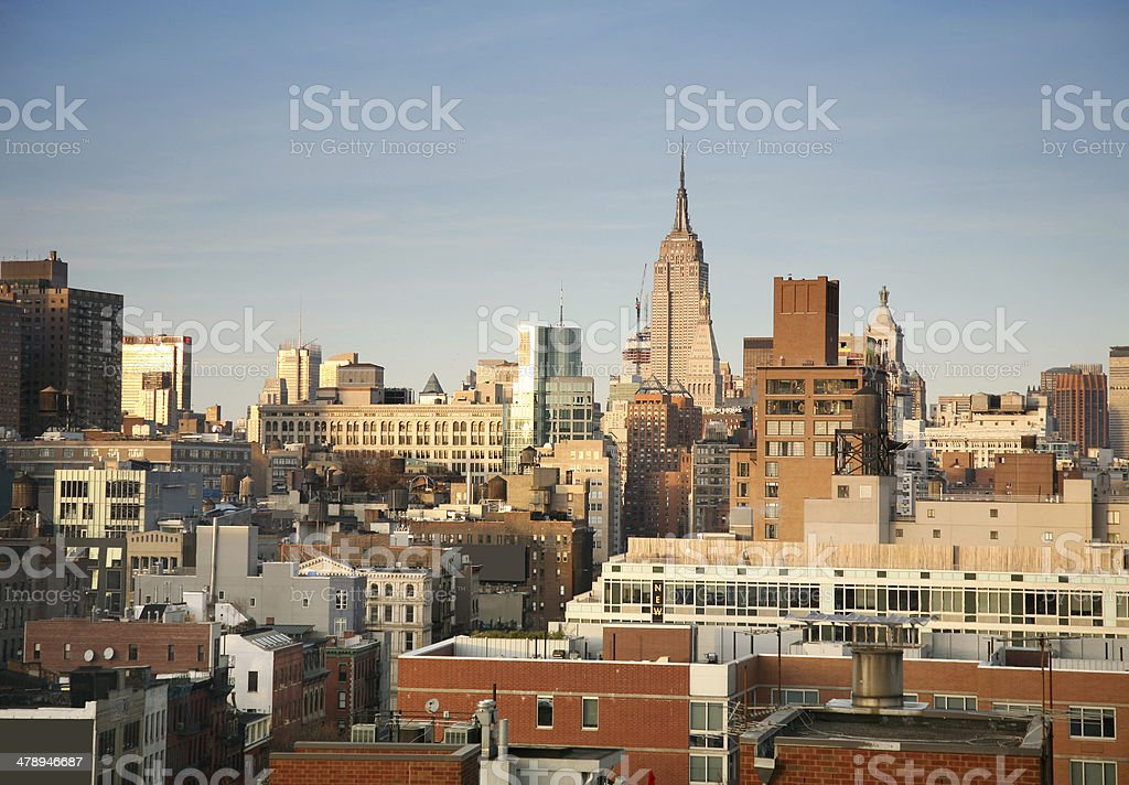 New York Skyline At Sunset royalty-free stock photo