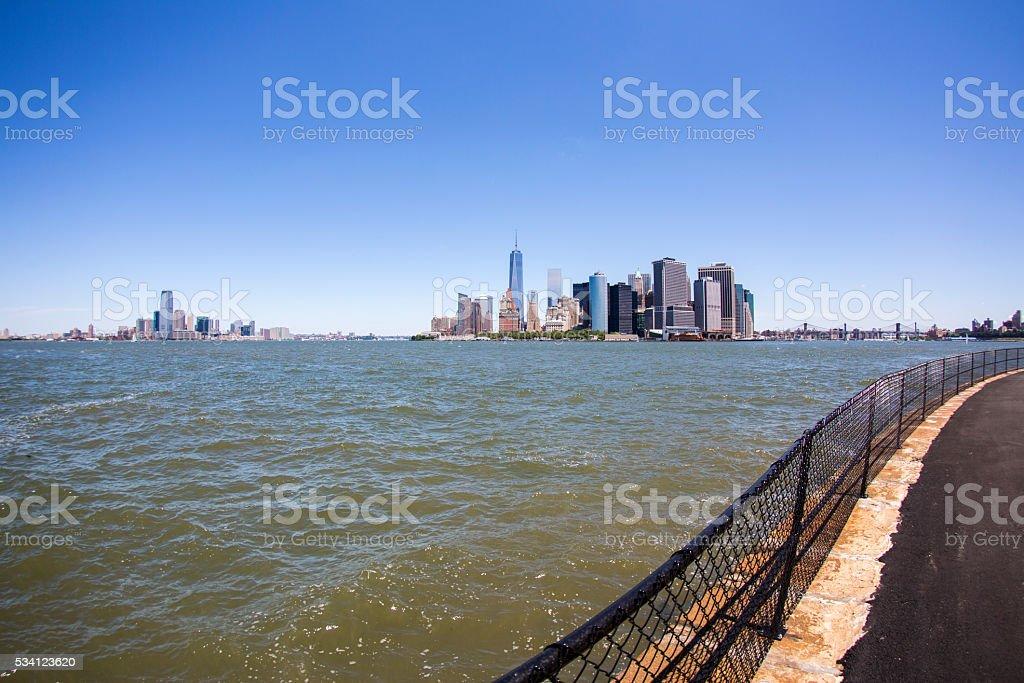 New York skyline downtown manhattan stock photo