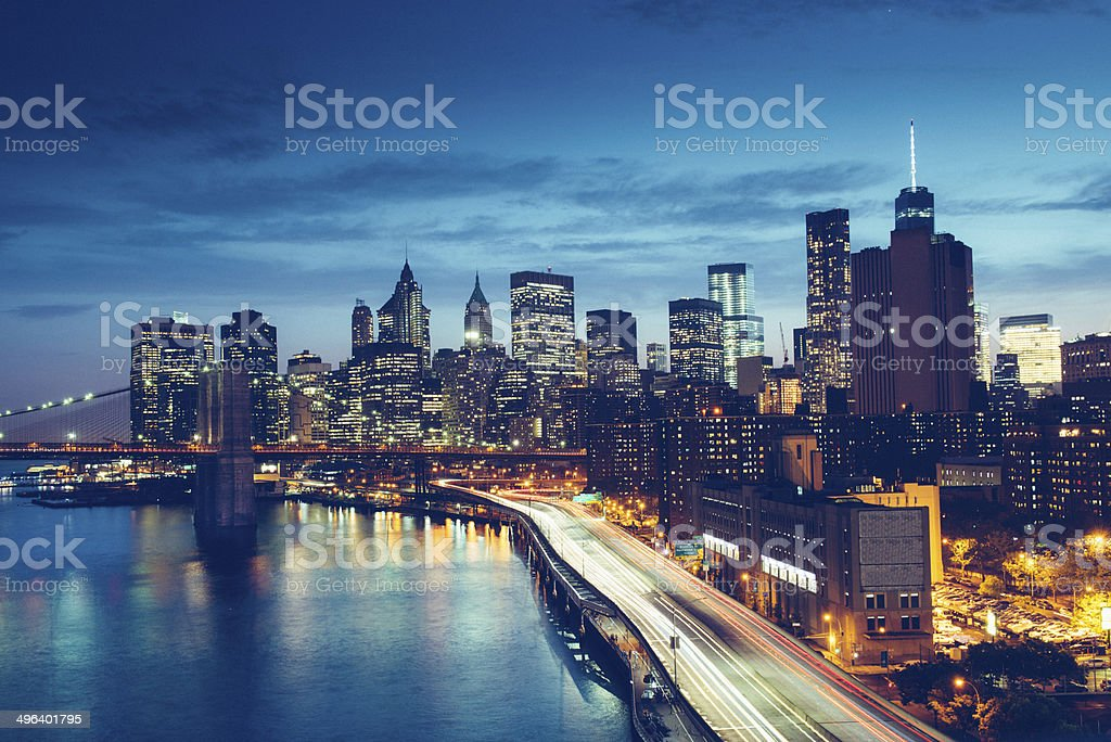 New York Skyline from FDR Drive stock photo