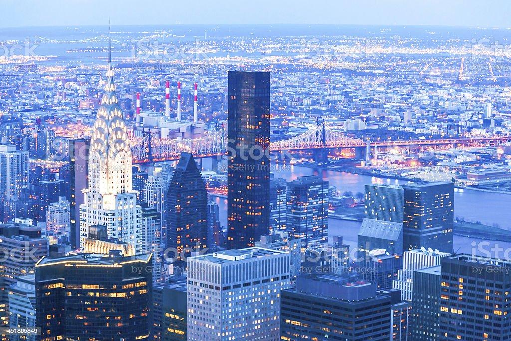 New York Skyline Illuminated at Dusk royalty-free stock photo
