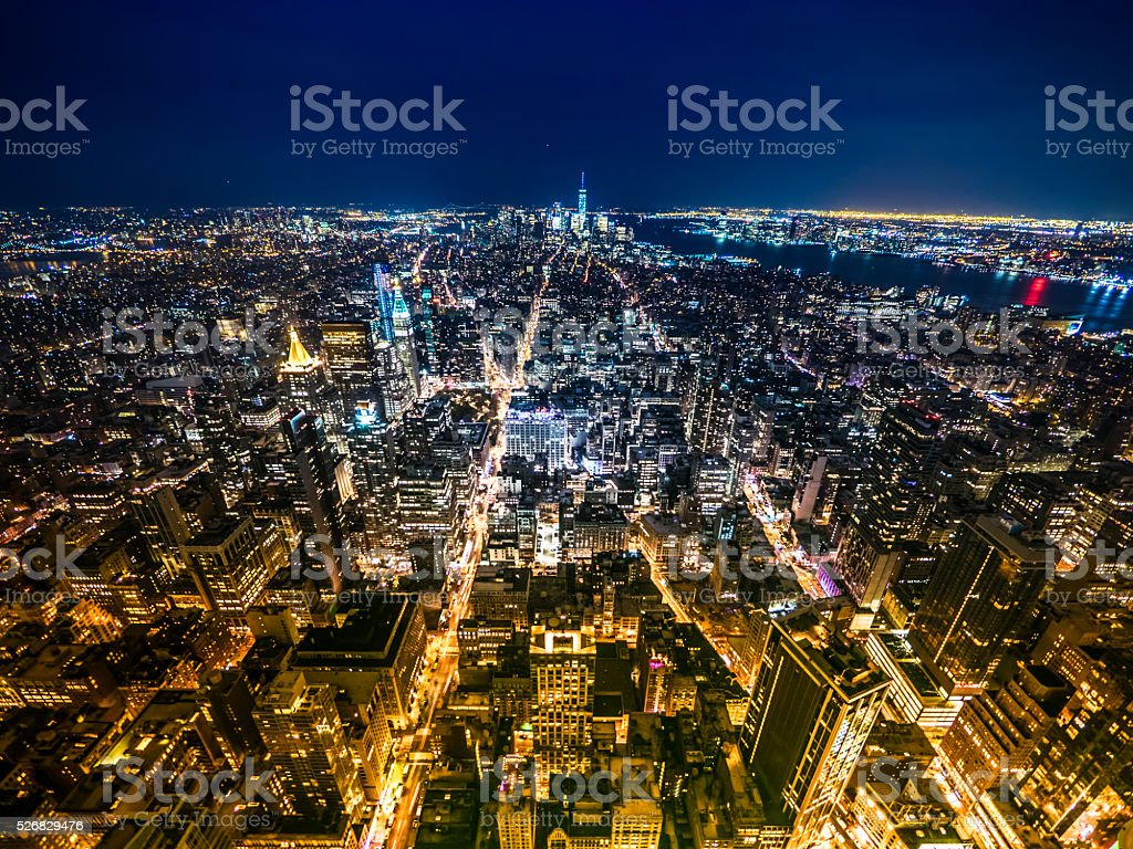 New York skyline in the night stock photo