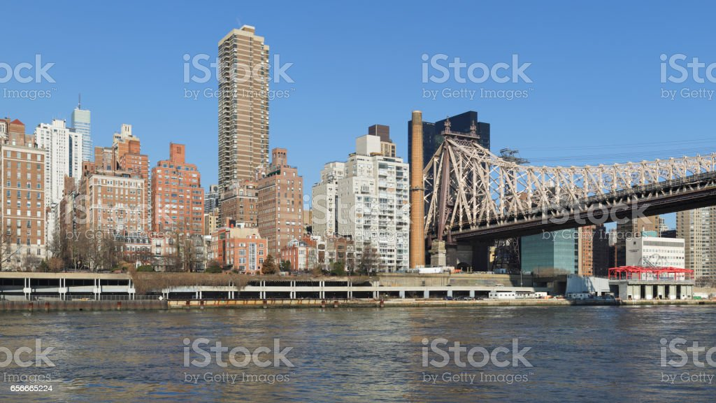 New York Skyline + Queensboro Bridge stock photo
