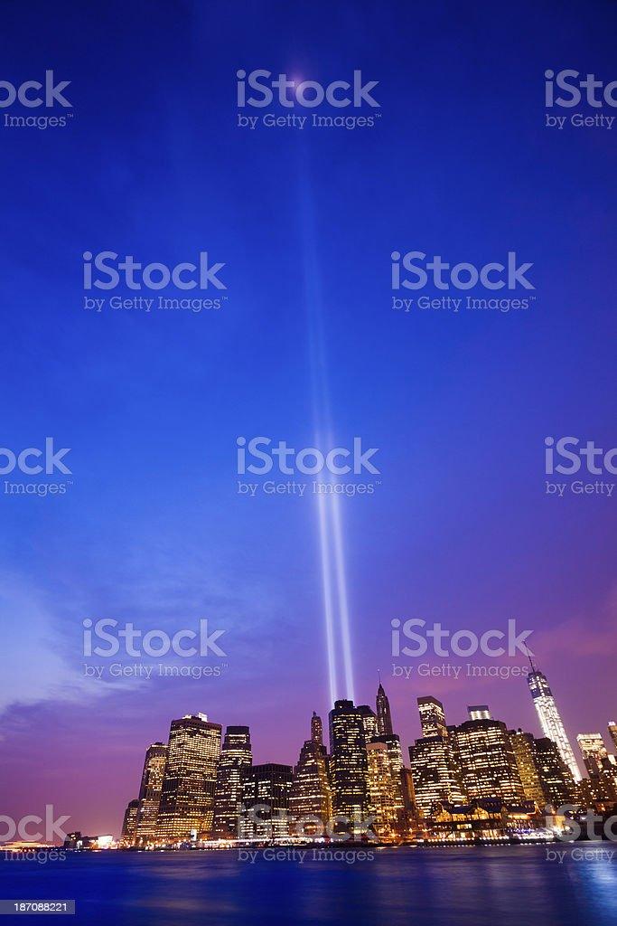 New York Skyline with 11 September Lights at Dusk stock photo