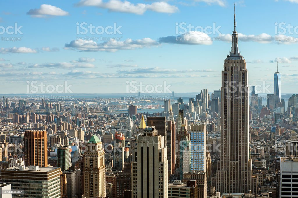 New York Skyline with Empire State Building Aerial View stock photo