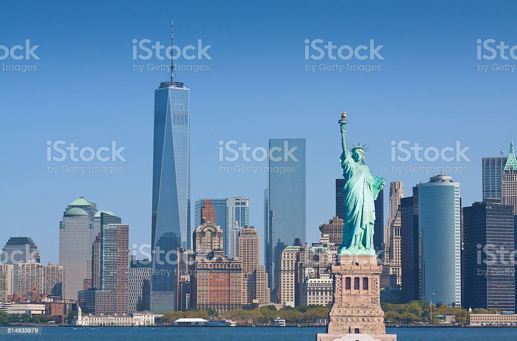 New York Skyline with Statue of Liberty, World Trade Center. stock photo
