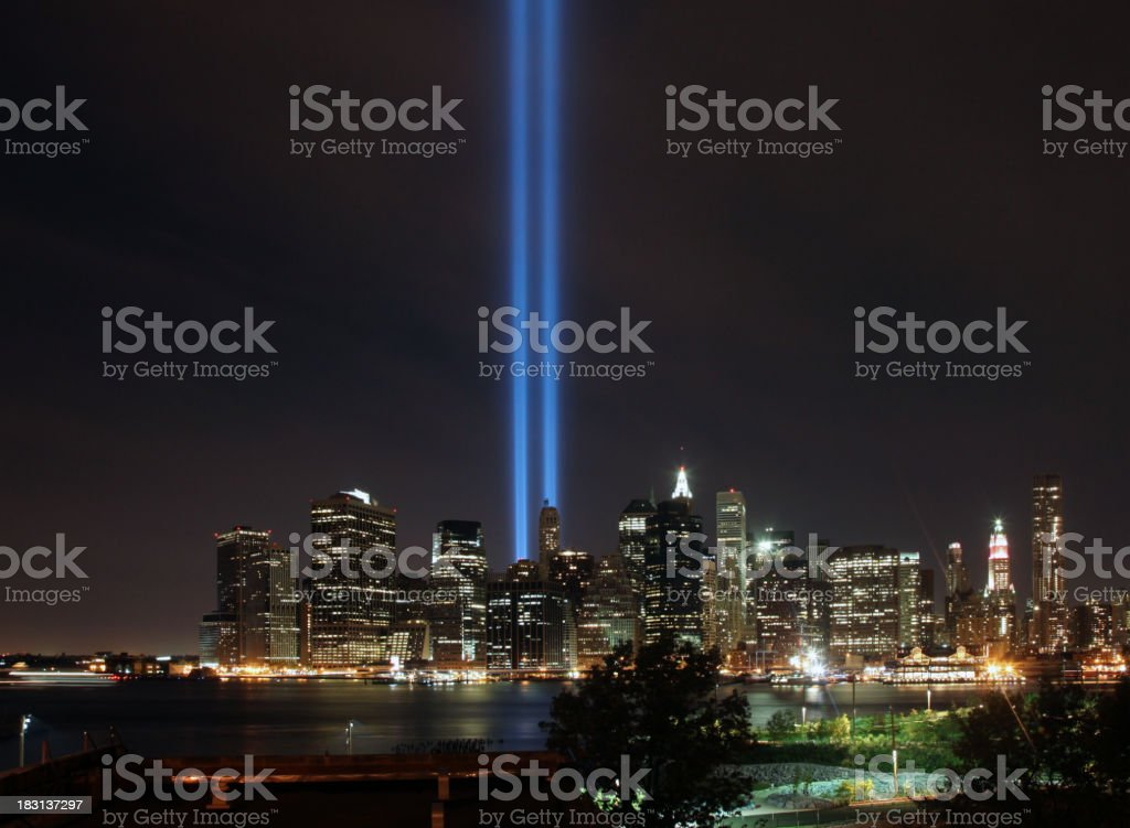 New York Skyline With Towers of Light royalty-free stock photo