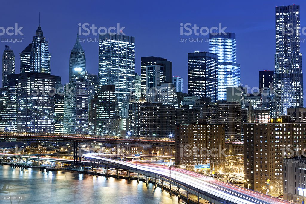 New York Skyline With Traffic On FDR Drive stock photo