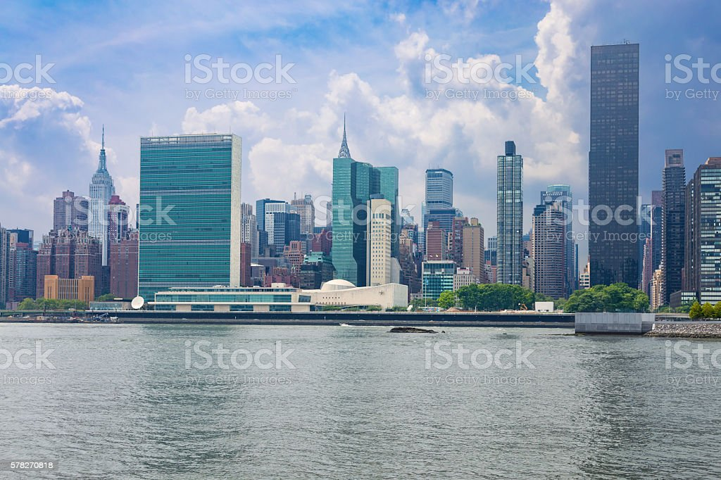 New York Skyline with UN and Empire State Buildings, stock photo