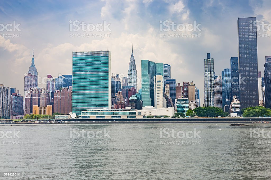 New York Skyline with UN, Chrysler and Empire State Buildings, stock photo
