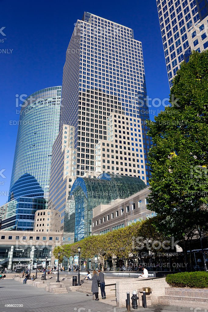 New York Skyline with World Financial Center Buildings. stock photo