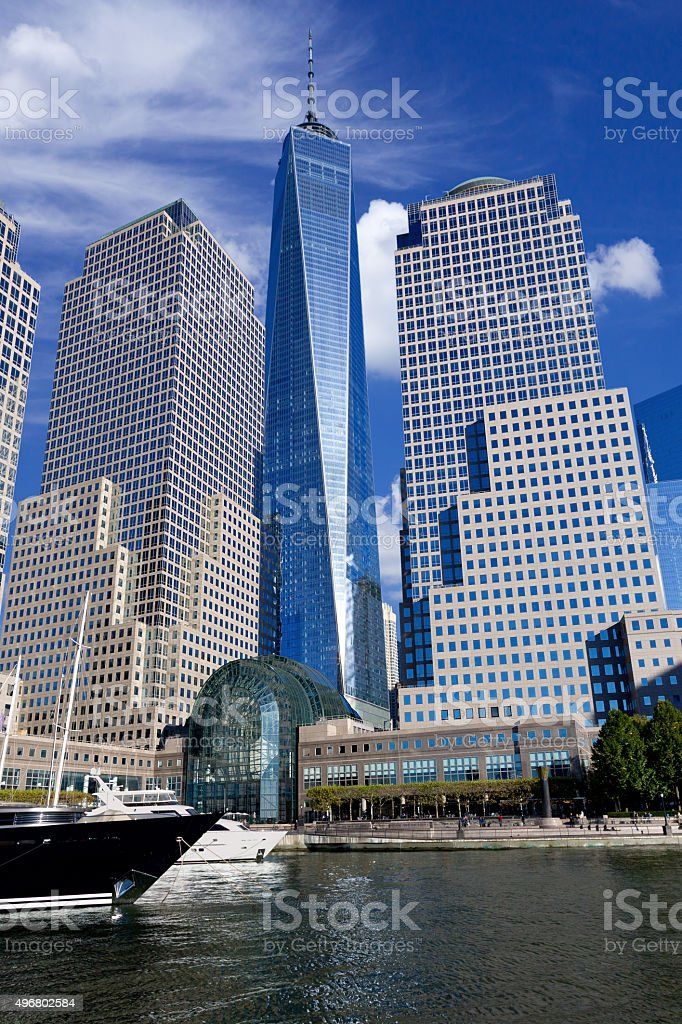 New York Skyline with World Trade and Financial Center Buildings. stock photo