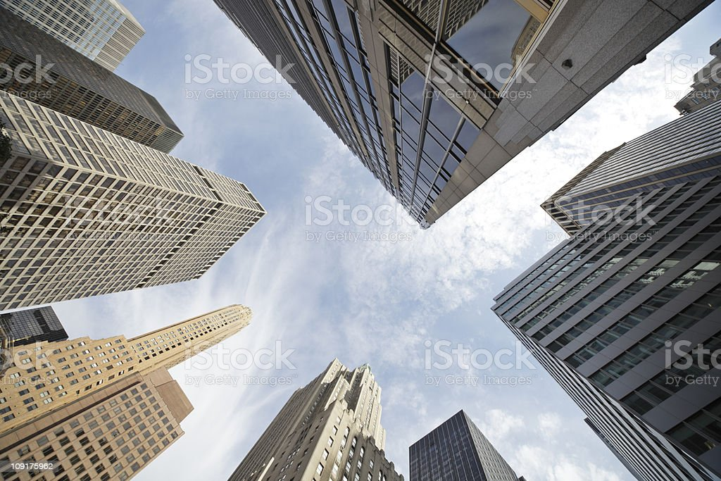 new york skyscrapers against the sky royalty-free stock photo
