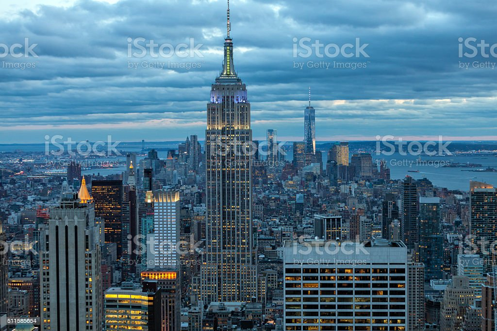 New York Skyscrapers Illuminated at Dusk stock photo