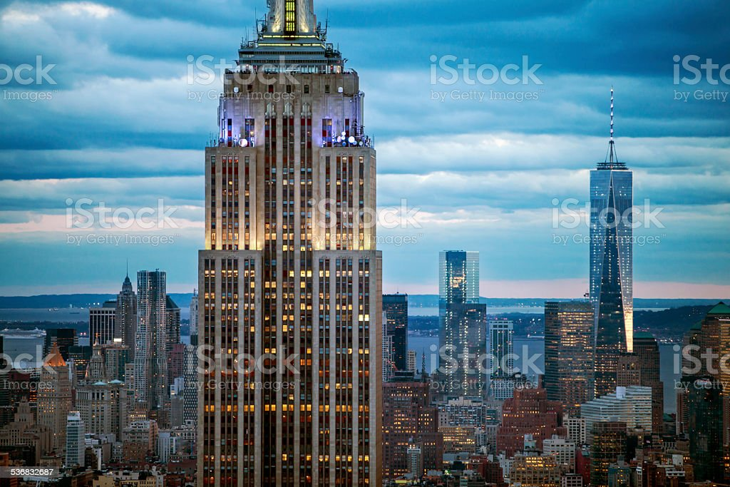 New York Skyscrapers With Empire State Building at Dusk stock photo