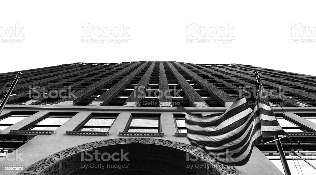 New York skyscrapers with flag stock photo