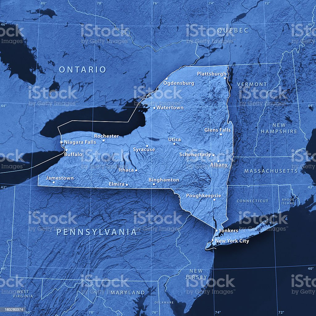 New York State Cities Topographic Map stock photo