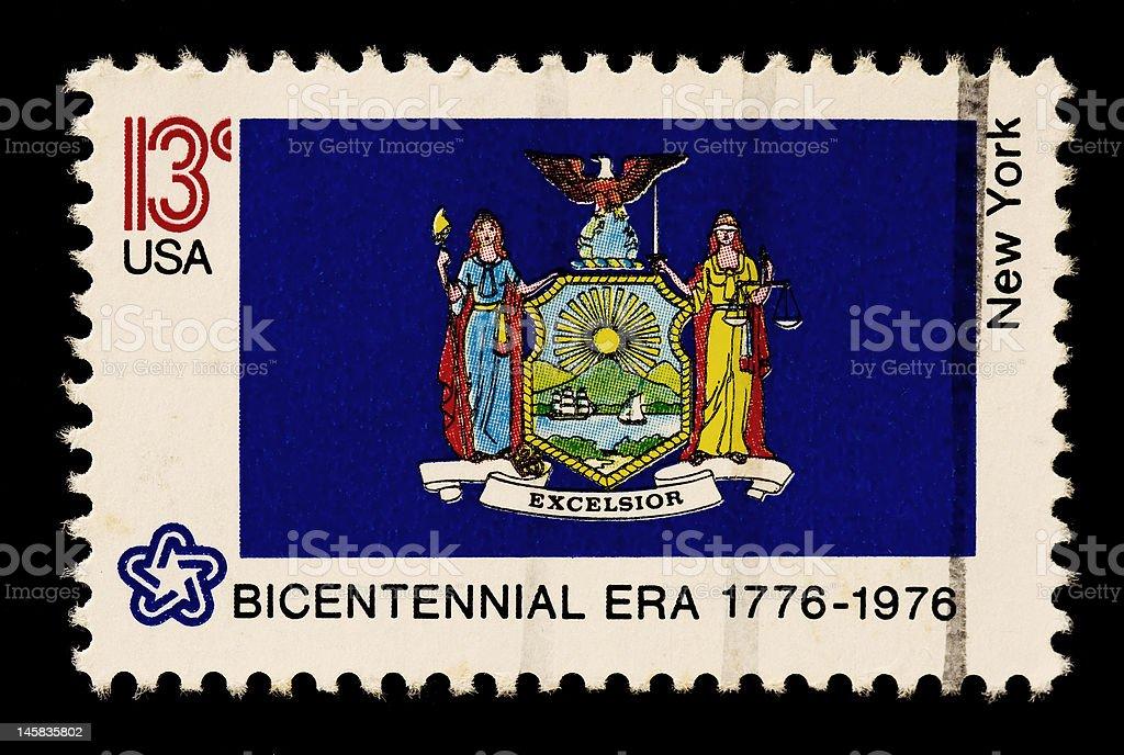 New York State Flag Stamp stock photo