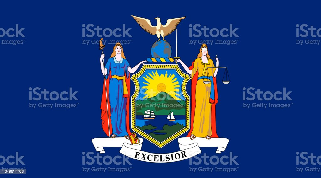 New York State flat flag stock photo