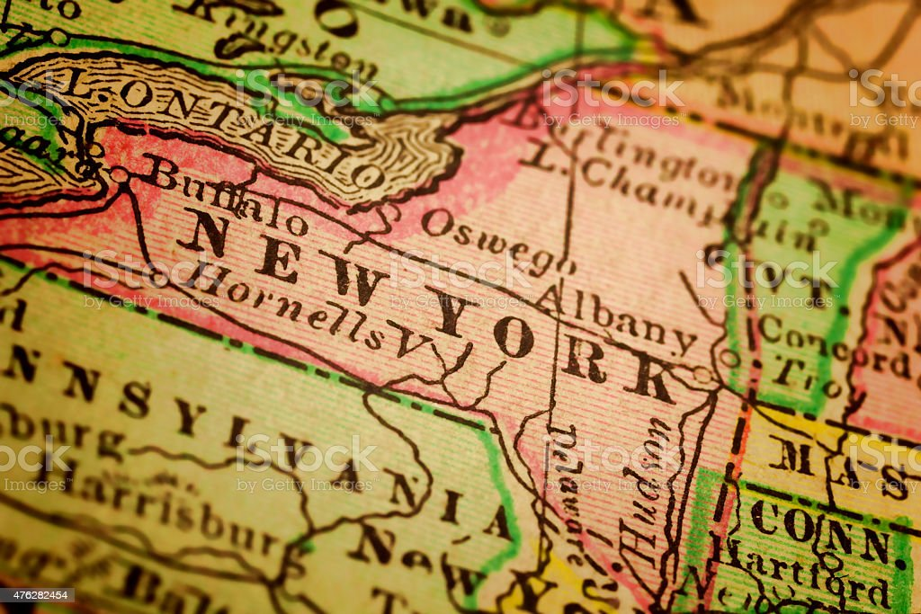 New York State on an Antique map stock photo