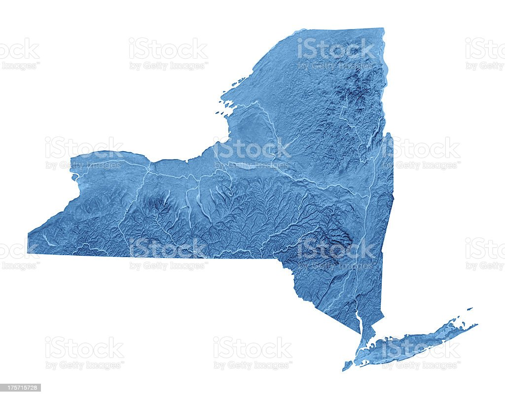 New York State Topographic Map Isolated royalty-free stock photo