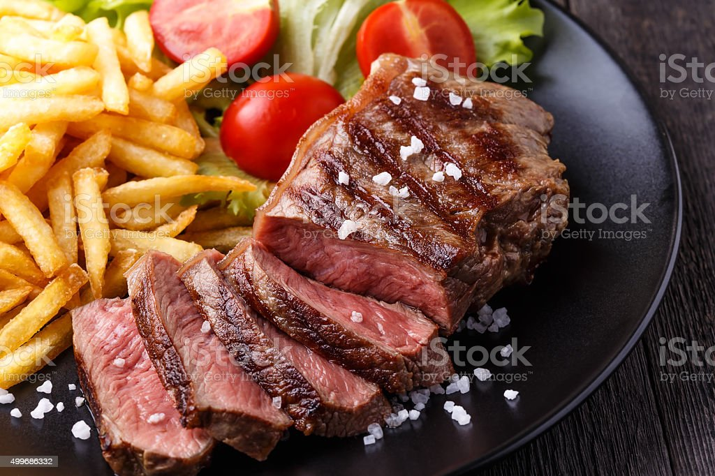 New York steak with french fries stock photo