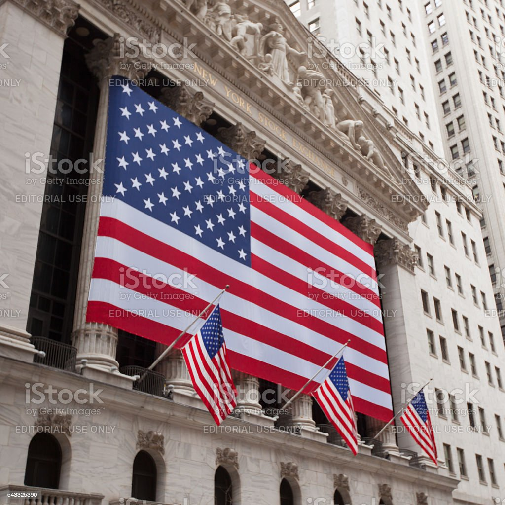 New York Stock Exchange building exterior stock photo