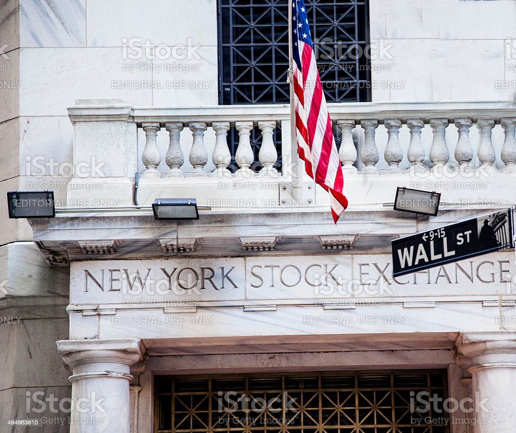 New York Stock Exchange building. Wall Street. New York City. stock photo