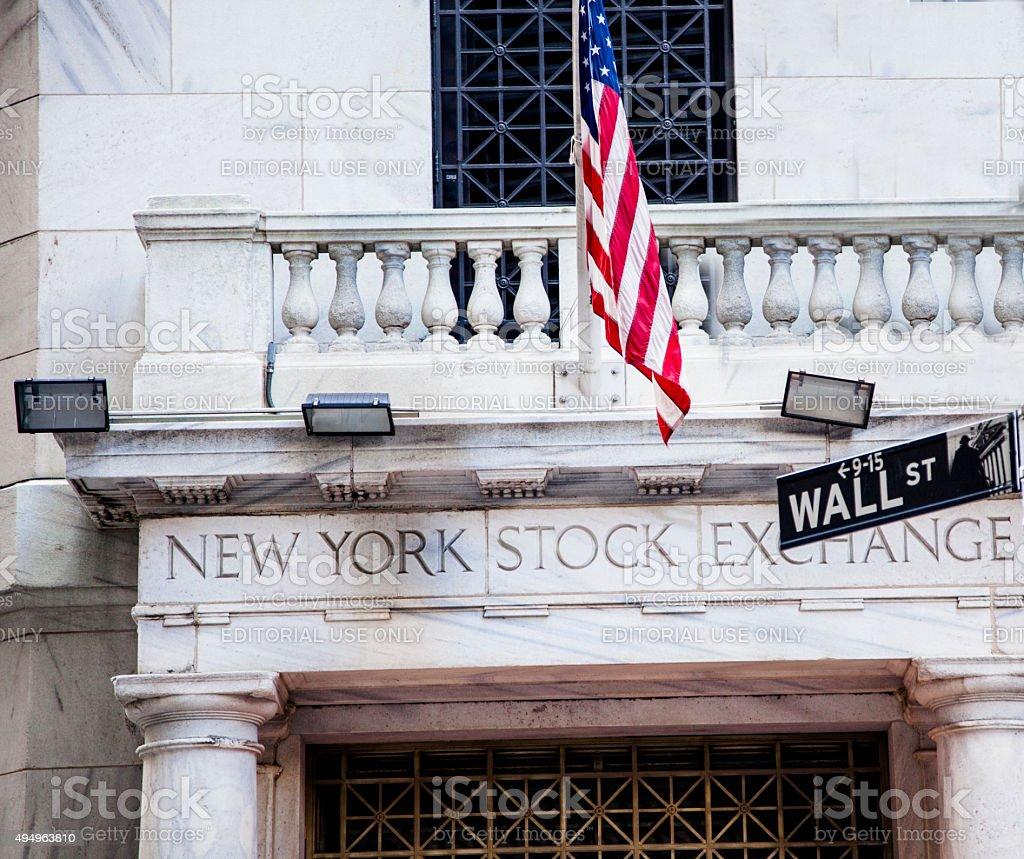 New York Stock Exchange building. Wall Street. New York City. stock photo