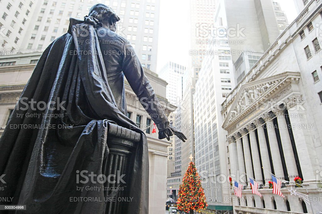 New York Stock Exchange Christmas stock photo