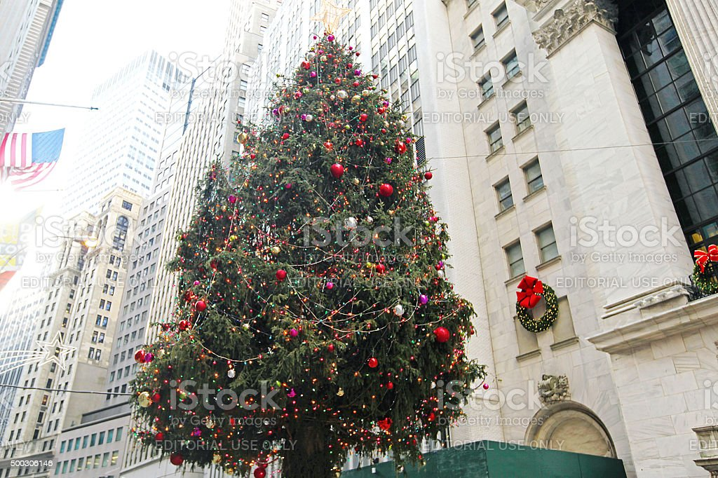 New York Stock Exchange Christmas Tree stock photo