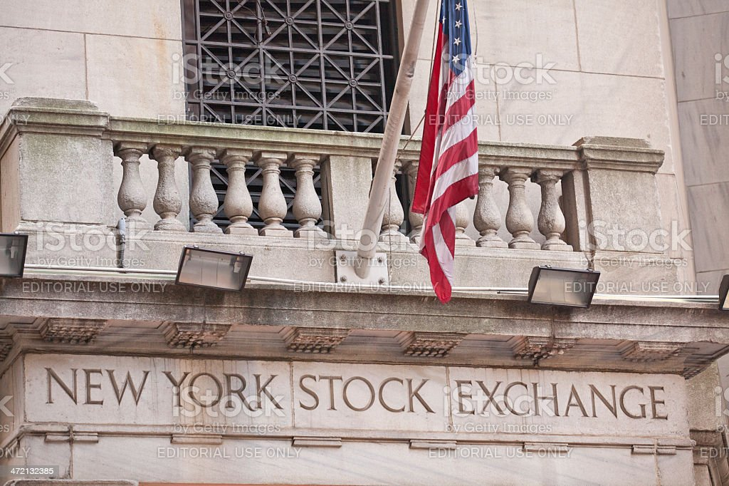 New York Stock Exchange Entrance at Wall Street Lower Manhattan stock photo