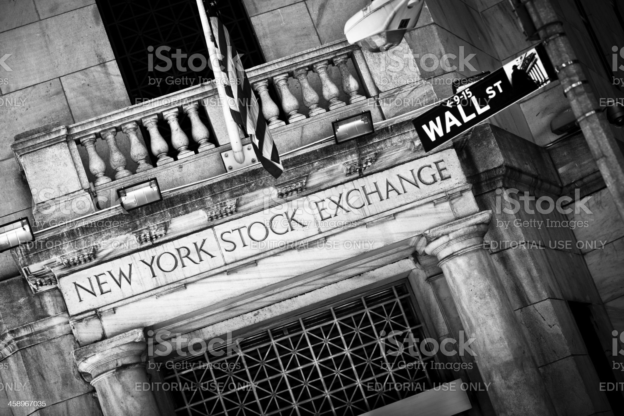 New York Stock Exchange entrance with Wall Street sign royalty-free stock photo