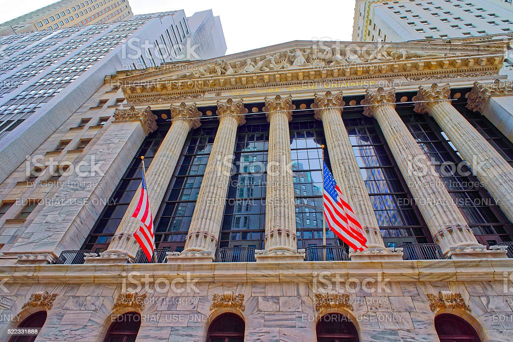 New York Stock Exchange on Wall Street in Lower Manhattan stock photo