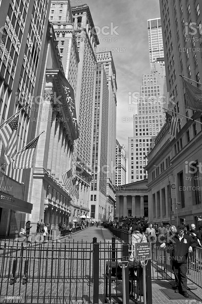 New York Stock Exchange security entrance, Broad St, NYC stock photo