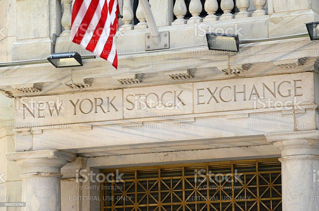 New York Stock Exchange with US flag, Manhattan stock photo