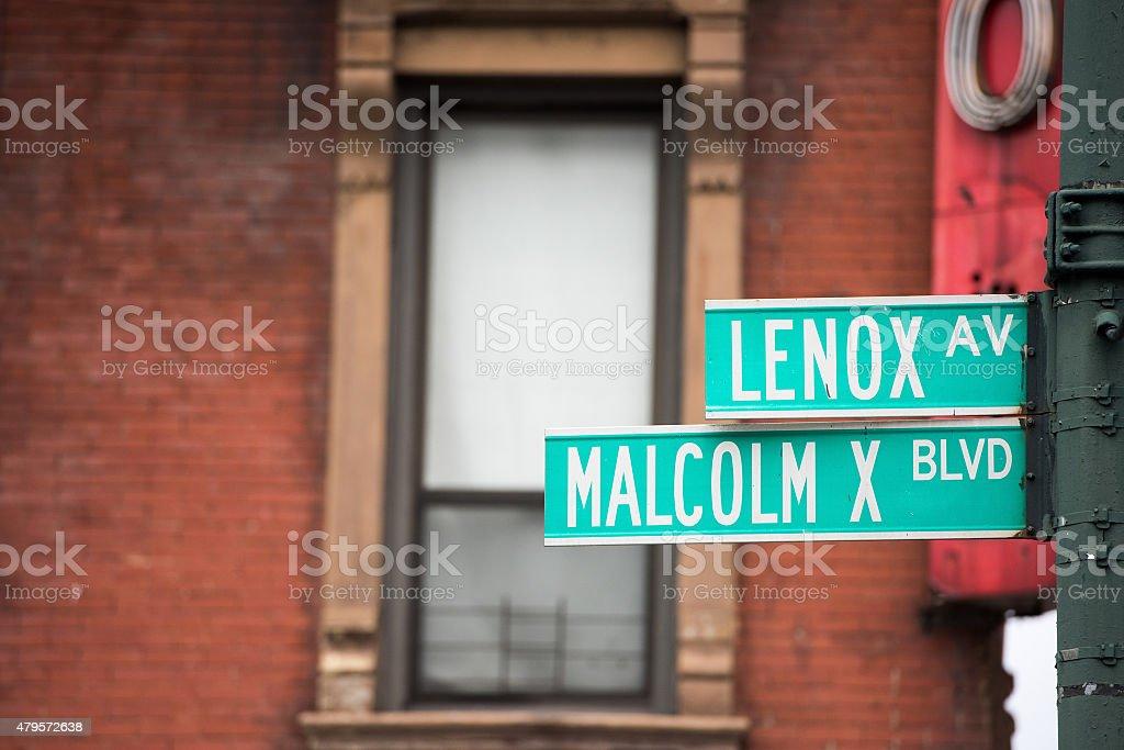 new york street sign: Malcom X stock photo