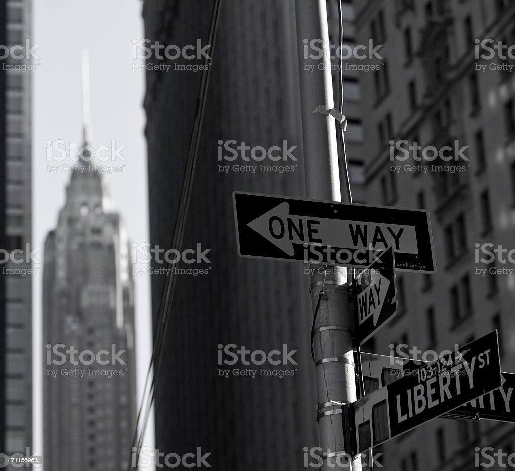 New York street sign with Chrysler Building in distance royalty-free stock photo